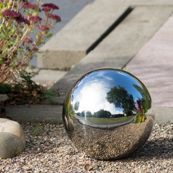 CIM Dekokugel aus Edelstahl - Dekokugel Silber Ø 30 cm - Leichte Hohlkugel, Gartenkugel, Schwimmkugel - polierte Oberfläche mit dauerhaft spiegelndem Glanz