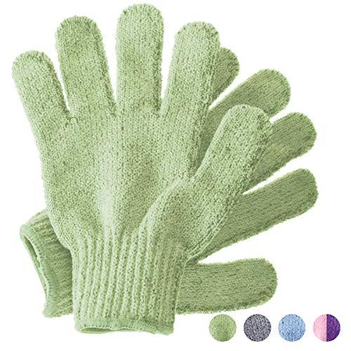 Peelinghandschuhe, Bambus Peeling Mitt, Bade- / Duschpeeling, Körperpeeling Handschuhe, Beauty Peelings/Luffa, eingewachsenes Haar/Entferner für abgestorbene Haut, (Salbeigrün)