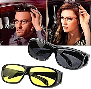 M K Zone Day & Night Unisex HD Vision Goggles Sunglasses Men/Women Driving Glasses Sun Glasses (Yellow-Black) -Combo Pack ...
