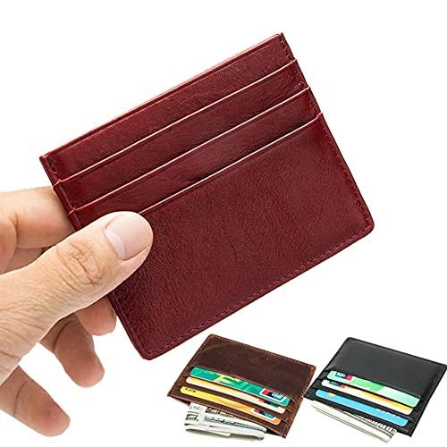 カードケース スリム 薄型 メンズ 革 シンプル カード入れ コンパクト 軽量 カードホルダー (ワインレッド)