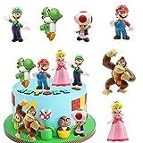 SUNSK Decoración De Pastel De Super Mario Cake Topper Mario Decoración de pastel de cumpleaños de dibujos animados para Cumpleaños Decoración de La Torta del fiesta suministros 6 Piezas