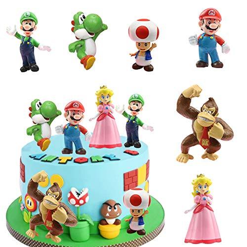 SUNSK Tortendeko für Super Mario Geburtstags Dekoration Mario Kuchenaufsätze Kinder Geburtstagstorte Dekoration Cartoons Kuchen Topper Party Dekoration 6 Stück