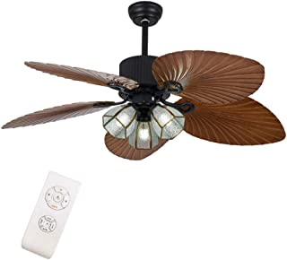 OUKANING- Ventilador de techo con iluminación y mando a distancia, 52 pulgadas, diseño industrial e interruptor de cordón, lámpara de techo, diseño retro, lámpara de techo moderna