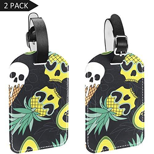 LORVIES Schedel Ananas Ijs Avocado Bagage Tags Reizen Labels Tag Naam Kaarthouder voor Bagage Koffer Tas Rugzakken, 2 PCS