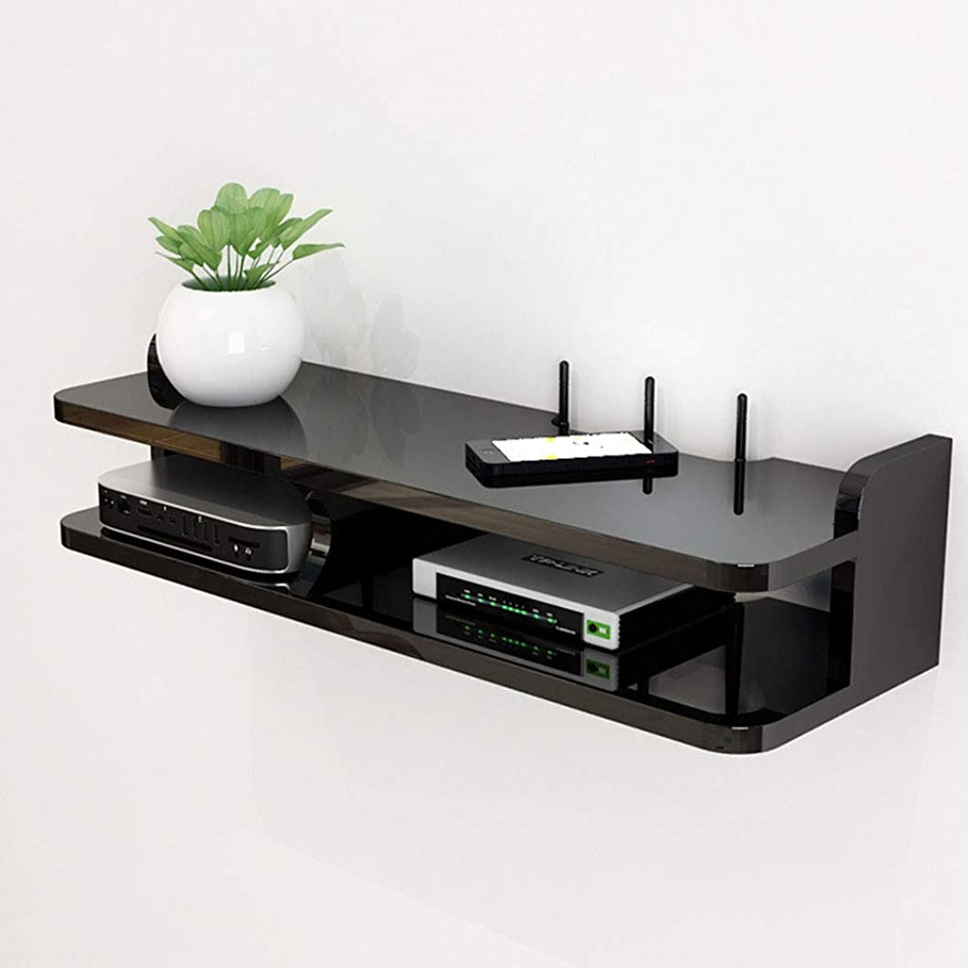 機械的純粋な確かな無垢材の壁ルーターラック、テレビセットトップボックス、2層のモダンなフローティングテレビコンソールパーティション