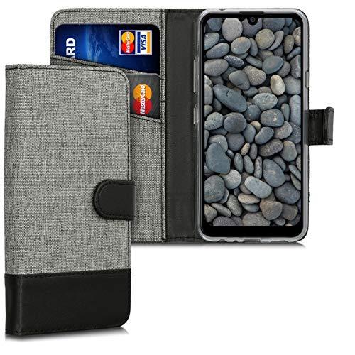 kwmobile LG K40S Hülle - Kunstleder Wallet Case für LG K40S mit Kartenfächern & Stand - Grau Schwarz