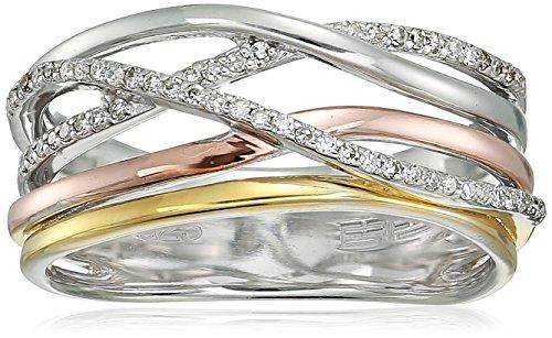 Effy Womens 925 Sterling Silver Diamond Ring, Silver/Gold, 7