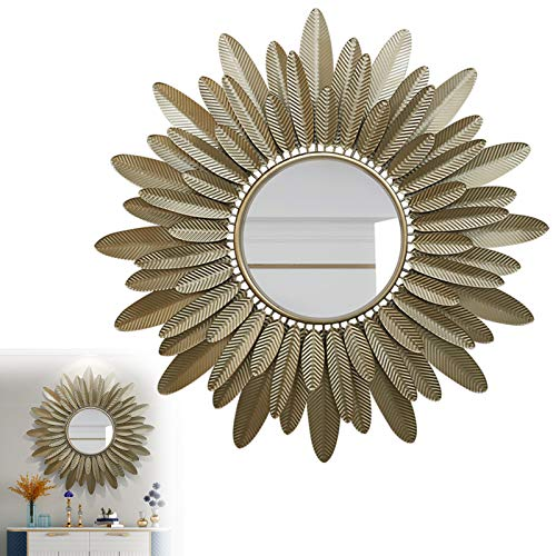 Espejo Sol Dorado Pared Grande, 82cm Decoración de Pared con Espejo Sunburst Grande, Espejos Decorativos para Dormitorio, Baño Espejo de Entrada para Sala de Estar