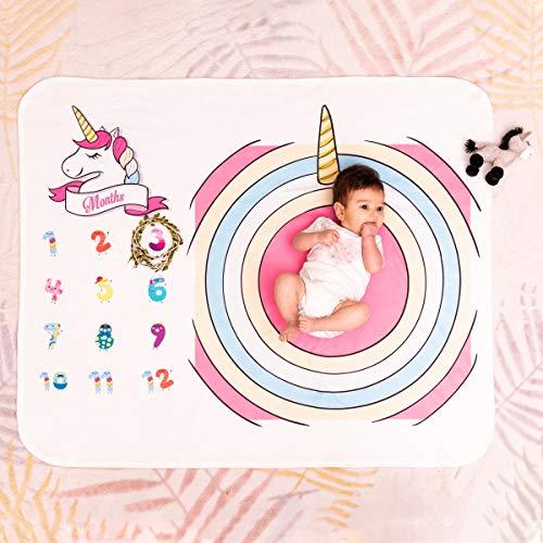 Manta para bebé con diseño de unicornio, ideal como regalo para baby shower. Primer año manta para envolver como fondo de fotografía, manta grande suave como alfombra de juegos para bebé.