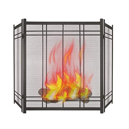 Spark Guard Elegant Fireplace Screen, Black Spark Guard with Metal Mesh and Sturdy Border, Gas Fireplace Fireproof Cover for Protect Accessories