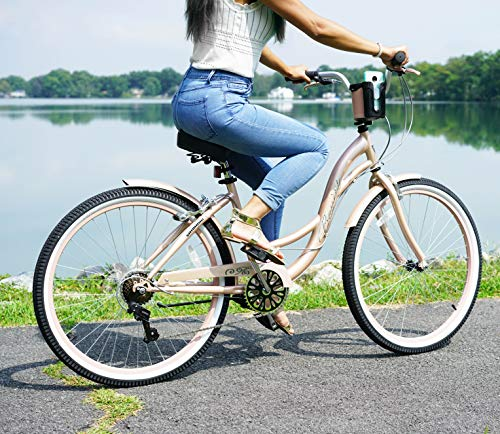 "514JOGYH5RL. SL500 Kent 26"" Bayside Women's Cruiser Bike, Rose Gold"