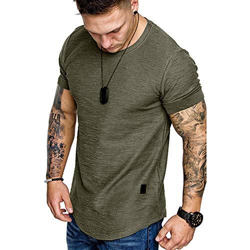 Herren T-Shirt Baumwolle Kurzarm Sommer T Shirt Casual Basic Slim Fit Top Shirt mit Rundhalsausschnitt (Green, XXL)