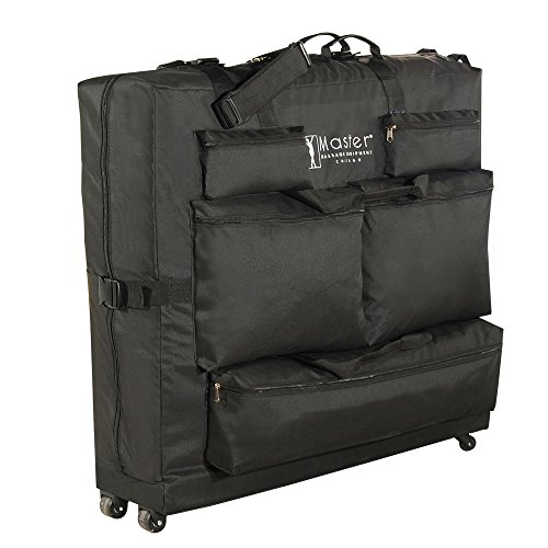 Master Massage Universal Wheeled Table Carry Case Bag With 4 Wheels for Massage Table With 5 Pockets, Black, 1count