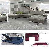 BMF TOKIO MAXI - Sofá cama grande en forma de U de piel sintética o tela de cualquier color, con almacenamiento de cama, 327 x 188 x 173 cm
