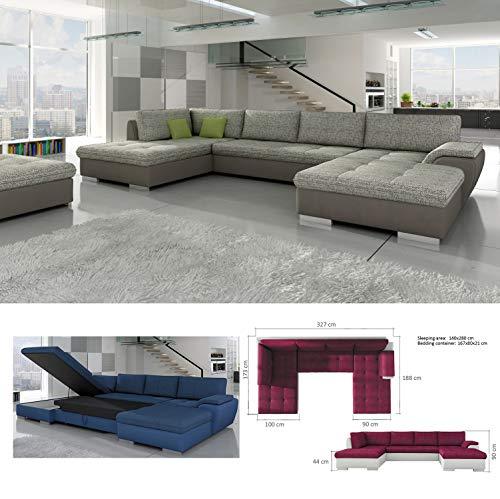 BMF TOKIO MAXI – Grande divano ad angolo in finta pelle o tessuto a forma di U, colore grigio, bianco, disponibile nella parte sinistra – 327 x 188 x 173 cm