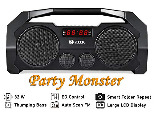 Zoook Rocker Boombox+ Portable Wireless Bluetooth 5.0 Speakers, Light Weight, Retro, 2 Bass Radiators. Rechargeable Battery Boom Box with 32 Watts of Power (Black)