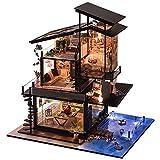Miniatura de Casa de Muñecas Casa de muñecas DIY Día de San Valentín Casa de muñecas de madera con muebles y accesorios, kit educativo en miniatura Casa de bricolaje Costa de Valencia sin cubierta Vil