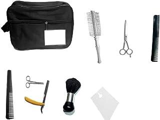 مجموعة قص الشعر (1 حقيبة، 1 فرشاة، 1 شفرة حلاقة، 1 فرشاة تنظيف، 2 مشط مختلفة، مقص وأغطية حلاقة 50 قطعة للاستخدام مرة واحدة)