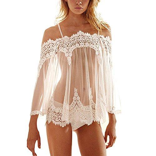 OVERMAL Damen Nachthemd Nachtkleid Spitze Nachtwäsche Bra Strap Unterwäsche Dessous Negligees+Unterhose (M, Weiß)
