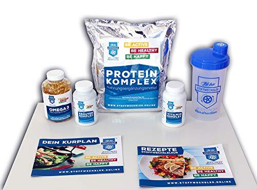 Stoffwechselkur Komplett-Paket - 21 Tage HCG-Diät mit Anleitung und Rezeptbuch -Inklusive Kräuterkomplex, Vitaminkomplex, Omega 3 Kapseln, Proteinkomplex und einem Protein-Shaker (TRAUMFIGUR 2019)