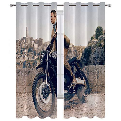 SSKJTC Cortinas térmicas con ojales No Time to Die 007 Poster Obra de Arte Retro Hombre Equitación Motocicleta Triumph Scrambler Cortinas opacas Paneles para dormitorio W84 x L84 pulgadas