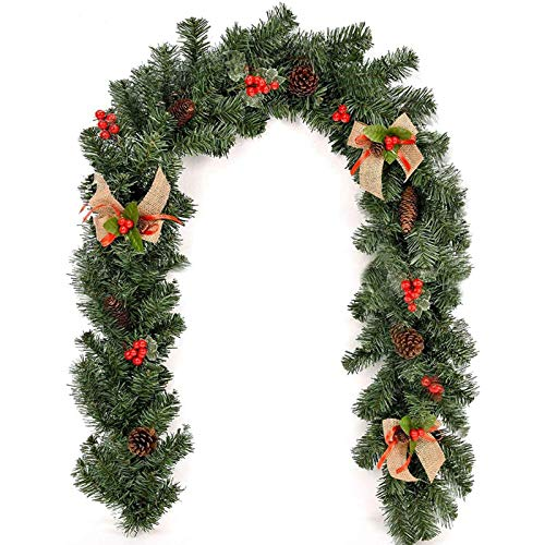 ACIT Christmas Garlands Decorations 6ft(1.8M) with Berries Pine Cones and Burlap Bowknots for Fireplace Stair Xmas Tree Decors