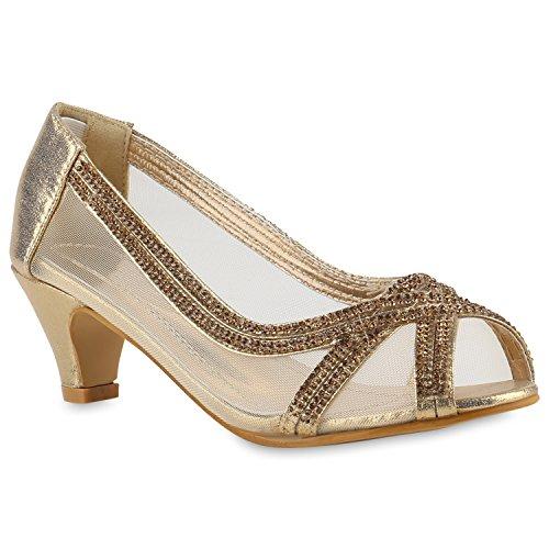 Klassische Damen Pumps Kitten Heels Lack Peeptoes Strass Glitzer Abend Braut Transparent Stilettos Schuhe 143432 Gold Strass 29 Flandell