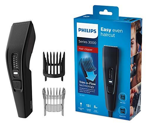 Philips HC3510/15 Haarschneidemaschine für Zuhause mit 13 Längeneinstellungen, Kammaufsatz, verstellbarem Bartkamm - kabelbetriebener Haarschneider