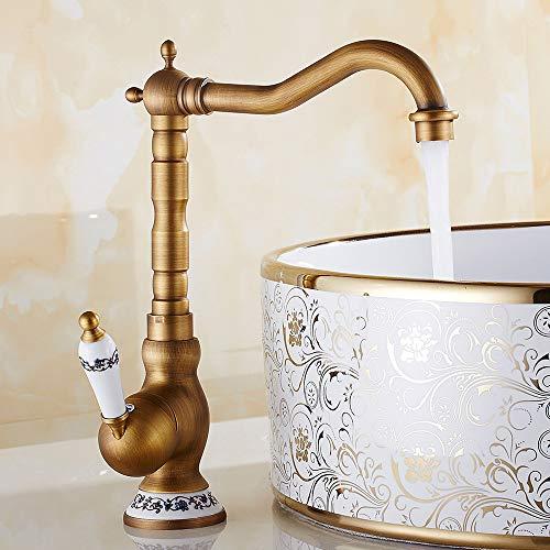 Grifo mezclador de baño o cocina monomando de cerámica floral vintage grifo agua caliente fría de bronce para lavabo baño decoración de la casa (marrón)