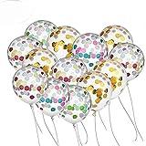 BUWANT Confetti Globos 20 Piezas 12 Pulgadas para Decoraciones de Fiesta, 10 Piezas de Oro y 10 Piezas Colorido