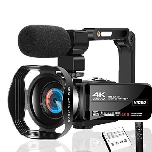 Videokamera 4K Video Camcorder 48MP Videokamera mit Mikrofon mit Handheld und Haube