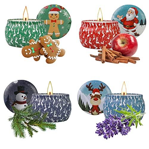 Yinuo Candle Candele Profumate Regalo di Natale 4 pezzi Candele Set per Aromaterapia Candela Aromatica di cera di soia naturale con coperchio,Decora il Natale, Regalo per Donna , Mamma