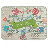 Thank You Flowers - Juego de alfombrillas secas para encimeras de cocina, absorbentes para bebe, secador de biberones y escurridores para encimera, 40,6 x 45,7 cm
