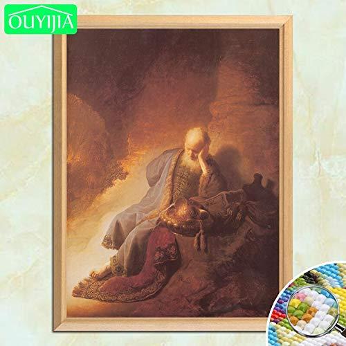 tzxdbh Rembrandt beroemde schilderijen Jeremiah draait om de vernietiging van Jerusalems 5D DIY diamant schilderij vol vierkant diamant borduurwerk 20 * 25 cm 7
