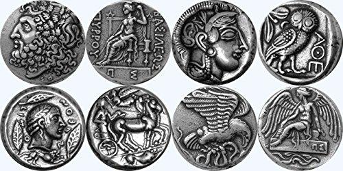 Golden Artifacts Zeus, Athena, Apollo, Nike, 4 Famous Greek Coins, Unique Gift, Greek Mythology (2SET-S)