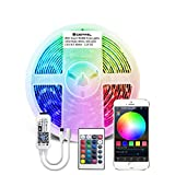 GIDEALED Smart RGBW LED Strip Lights 16.4ft Kit Work with Alexa and Google Assistant,Smart WiFi LED Controller for Voice Control 5 pin RGBW LED Strips,No Hub Required