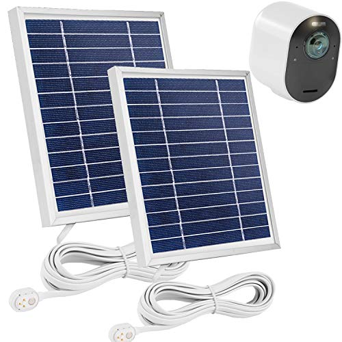 Uogw 2 Pack Solar Panel Compatible with Arlo Ultra/Ultra 2, Arlo Pro 3/Pro 4 & Arlo Floodlight, with 11.5ft Waterproof Magnetic Power Cable, Adjustable Mount-Silver (NOT for Arlo Essential Spotlight)