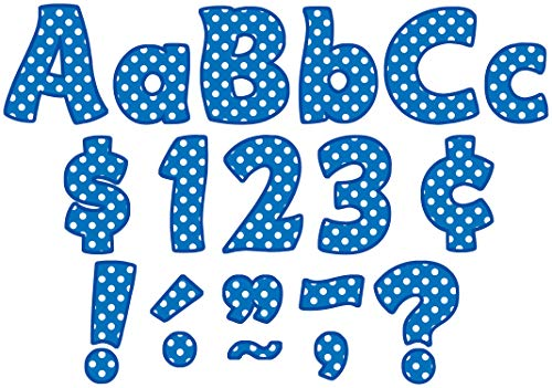 Teacher Created Resources Blue Polka Dots Funtastic Font 4-Inch Letters Combo Pack (5347)