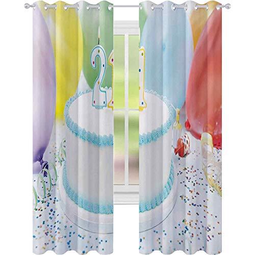 Cortinas de tratamientos para ventana, diseño de 21 colores con globos de colores, 52 x 95, para habitación de bebé, color blanco y azul pálido