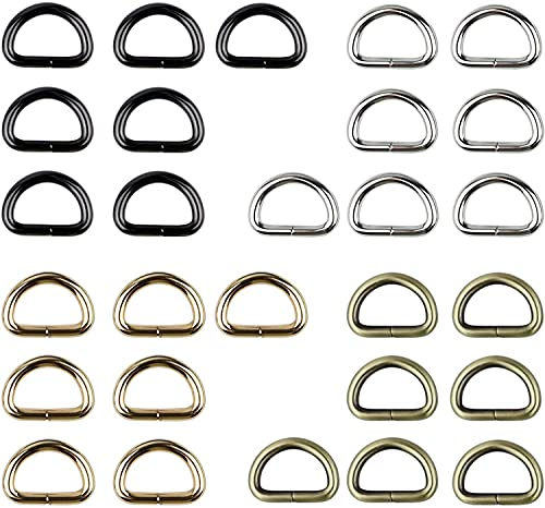 """28 Pcs 1"""" Inside Width Strong D Shape Rings D Ring Metal Heavy Duty D Loop Clip Hook Fasteners Thick D Buckles for Dog Collar Purses Bags Webbing Sewing"""