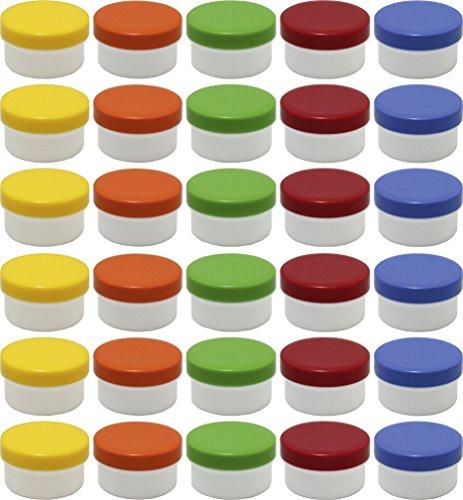 30 Salbendöschen, Creme-döschen, Salbenkruke flach, 60ml Inhalt mit farbigen Deckeln - MADE IN GERMANY …