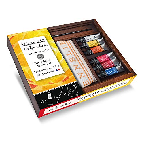 l'Aquarelle Extra-Fine French Artists' Watercolor Wood Box Set by Sennelier, Includes 12-10ml Tubes of Color, Raphael Brush and Sennelier Cloth (10-131690-SF)