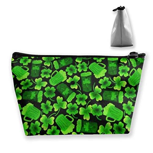 Bolsa de cosméticos para mujer, diseño de trébol de San Patricio para cerveza, bolsa de aseo de viaje, accesorios organizador de regalos