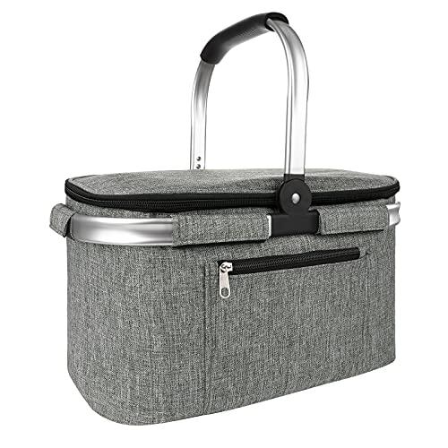 Vintoney cesta picnic, cestas para vajilla de exterior y picnic, Bolsa térmica aislada para alimentos fríos o calientes, Bolsa de almuerzo plegable cesta de picnic 22L