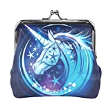 Blue Cartoon Unicorn Stars Coin Purse Clasp Pouch for Women Girls Leather Change Purse Wallet Buckle