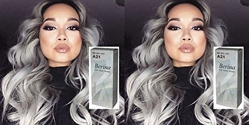 Berina A21 Hair Color Cream Dye Light Grey Pack of 2 Super Permanent Fashion Unisex containing an innovative component which protects and provides glamor color to hair as desired