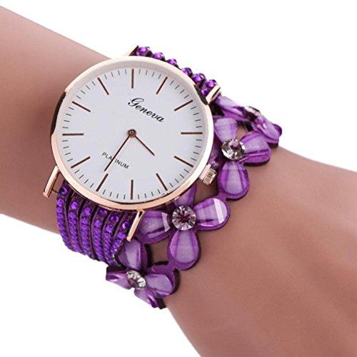 Xinantime Relojes Pulsera Mujer,Xinan Flores Reloj de Cuarzo Brillante (Púrpura)