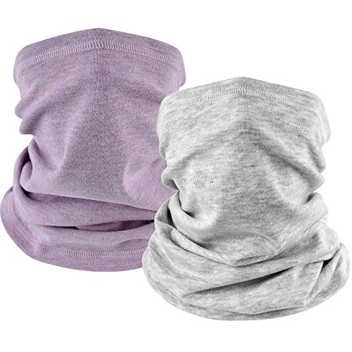 EXski Winter Neck Gaiter Warmer, Soft Fleece Face Mask Scarf for Cold Weather Skiing Cycling Outdoor Sports 2 Packed