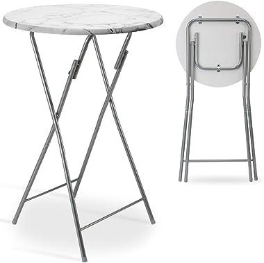 Casaria Table Haute Pliable Blanc Ø 60cm métal Aspect marbre Plateau Table MDF Table de Jardin Bar bistrot Balcon Anniversair