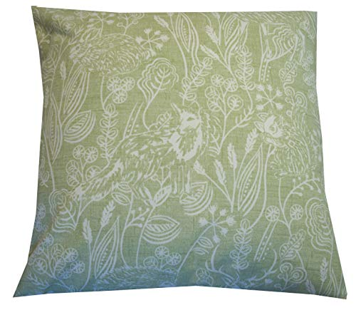 Cushion Cover Sage Green 18' x 18' Woodlands Animals Wildlife Fox Hedgehog Rabbit Hare Squirrel Deer Stag MADE IN THE UK